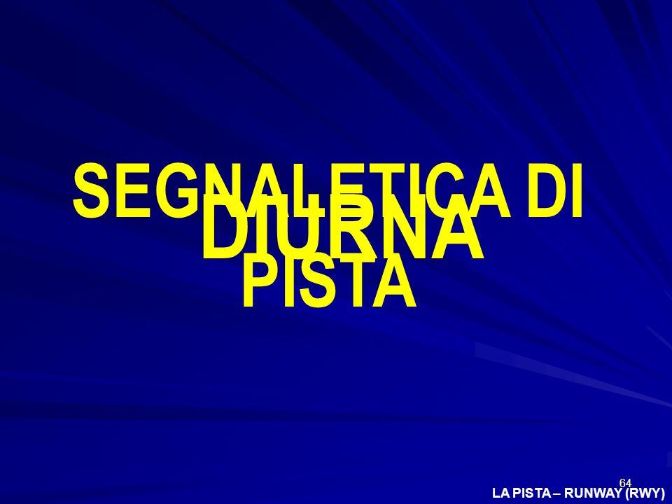 SEGNALETICA DI PISTA DIURNA LA PISTA – RUNWAY (RWY)