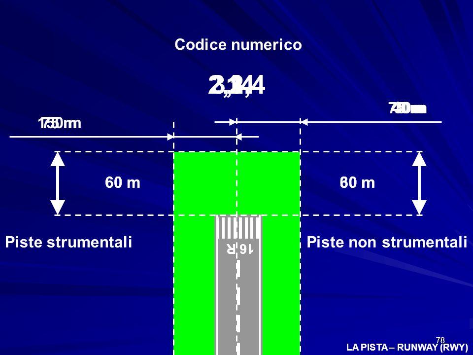 2,3,4 3, 4 1 2 1 Codice numerico 75 m 30m 40 m 150 m 75 m 75 m 60 m