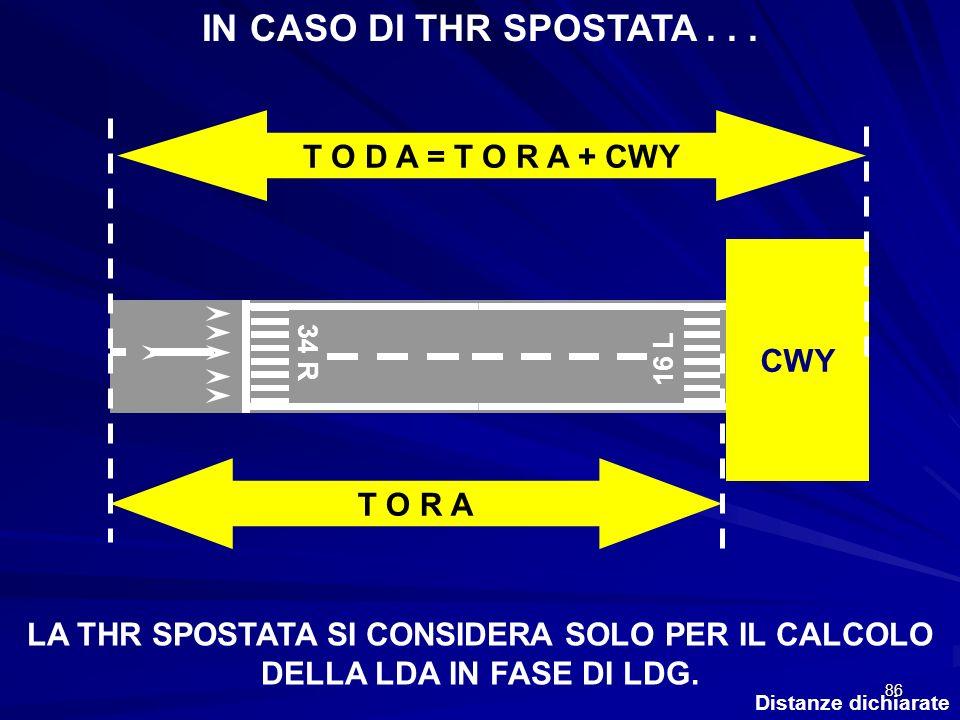 IN CASO DI THR SPOSTATA . . . T O D A = T O R A + CWY CWY T O R A