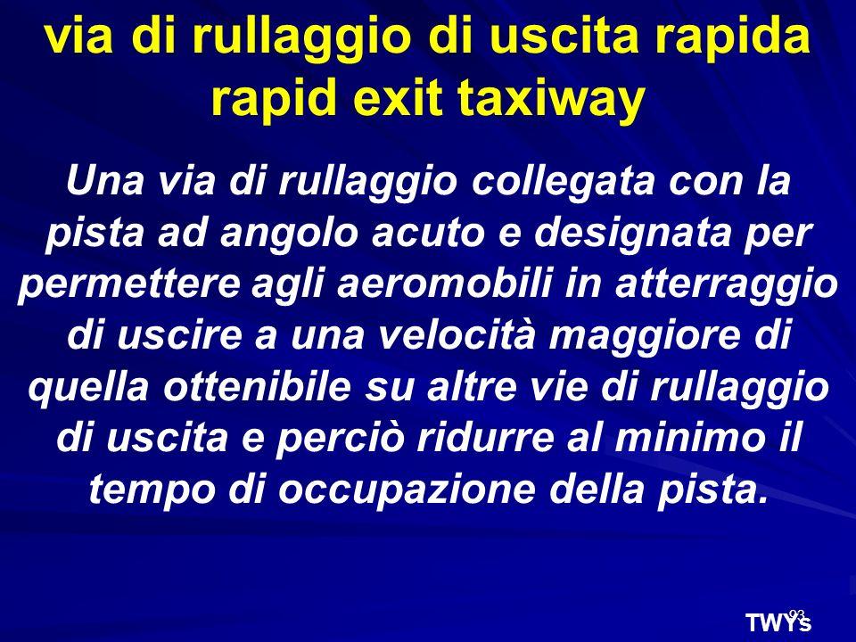 via di rullaggio di uscita rapida rapid exit taxiway