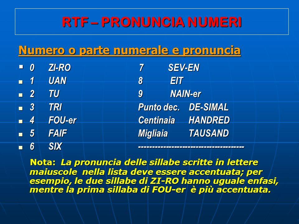 RTF – PRONUNCIA NUMERI Numero o parte numerale e pronuncia