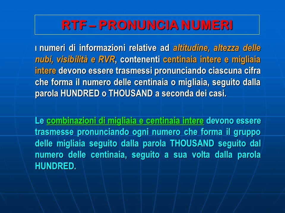 RTF – PRONUNCIA NUMERI