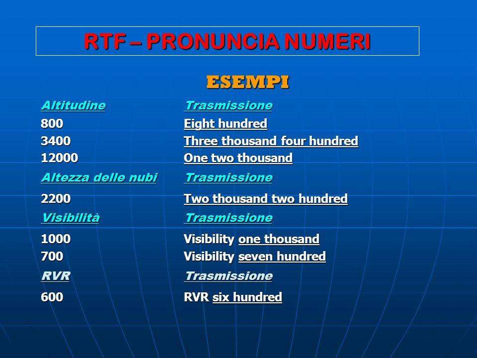 RTF – PRONUNCIA NUMERI ESEMPI Altitudine Trasmissione