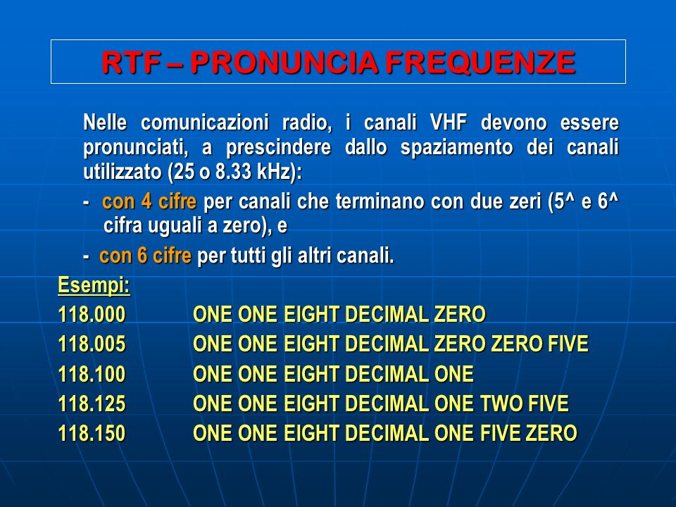 RTF – PRONUNCIA FREQUENZE