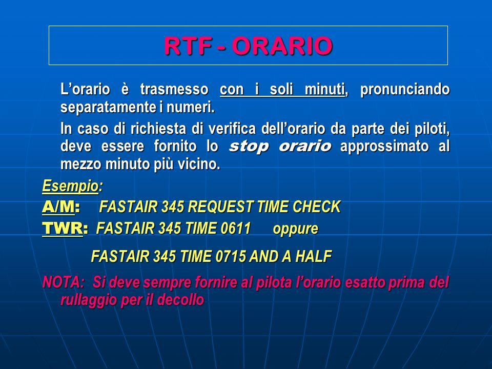 RTF - ORARIO L'orario è trasmesso con i soli minuti, pronunciando separatamente i numeri.
