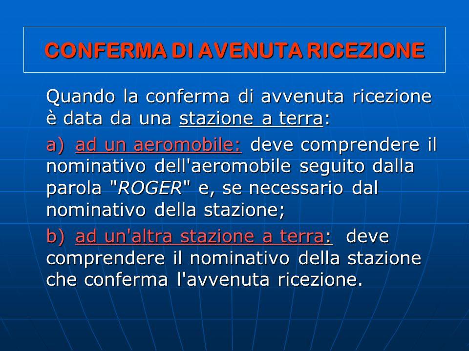CONFERMA DI AVENUTA RICEZIONE