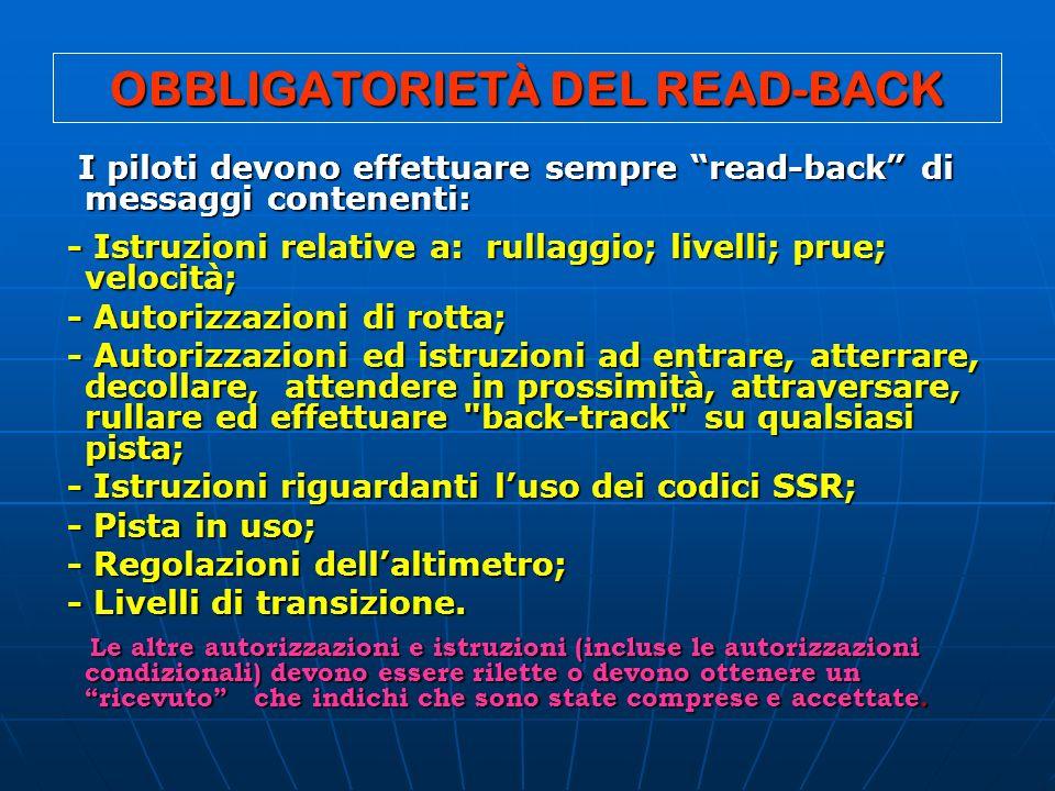 OBBLIGATORIETÀ DEL READ-BACK