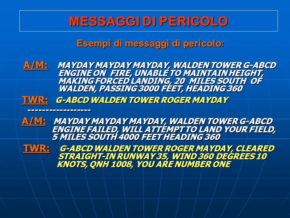 Esempi di messaggi di pericolo:
