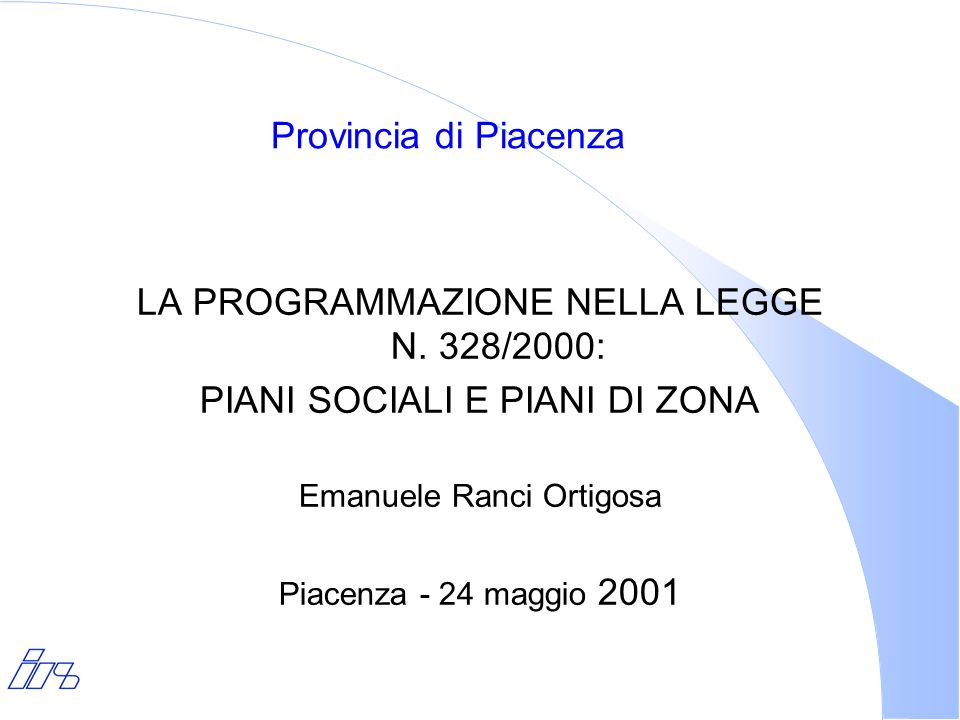 LA PROGRAMMAZIONE NELLA LEGGE N. 328/2000: