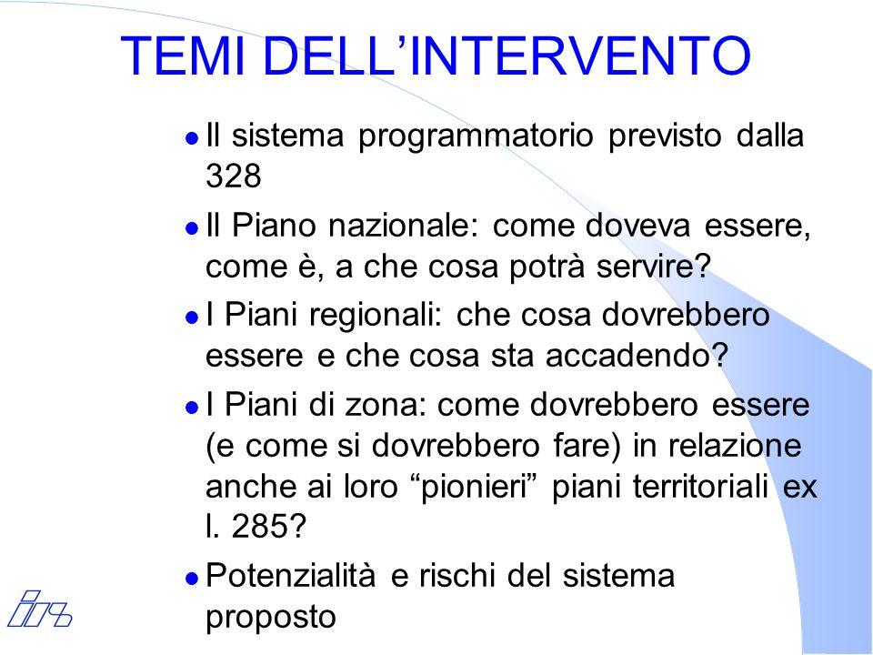 TEMI DELL'INTERVENTO Il sistema programmatorio previsto dalla 328