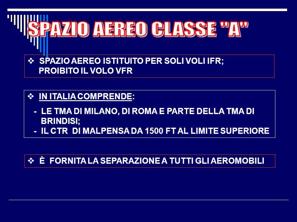 SPAZIO AEREO CLASSE A SPAZIO AEREO ISTITUITO PER SOLI VOLI IFR; PROIBITO IL VOLO VFR. IN ITALIA COMPRENDE: