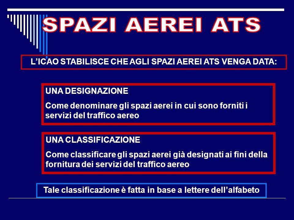 SPAZI AEREI ATS L'ICAO STABILISCE CHE AGLI SPAZI AEREI ATS VENGA DATA: