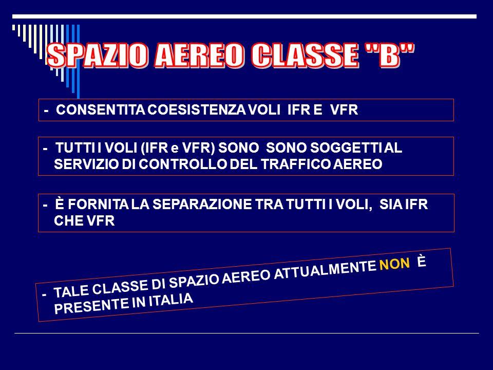 SPAZIO AEREO CLASSE B - CONSENTITA COESISTENZA VOLI IFR E VFR