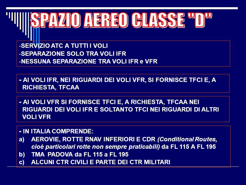 SPAZIO AEREO CLASSE D SERVIZIO ATC A TUTTI I VOLI. SEPARAZIONE SOLO TRA VOLI IFR. NESSUNA SEPARAZIONE TRA VOLI IFR e VFR.