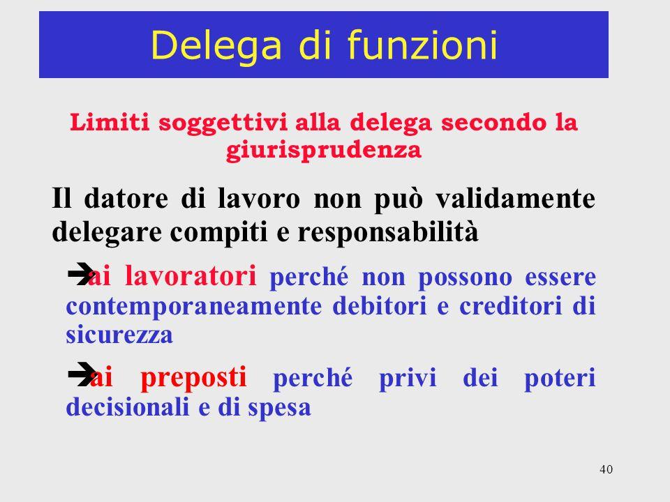 Limiti soggettivi alla delega secondo la giurisprudenza
