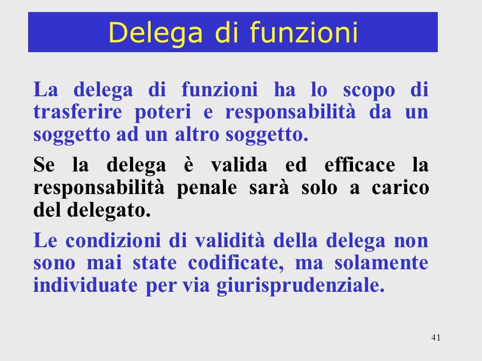 Delega di funzioni La delega di funzioni ha lo scopo di trasferire poteri e responsabilità da un soggetto ad un altro soggetto.