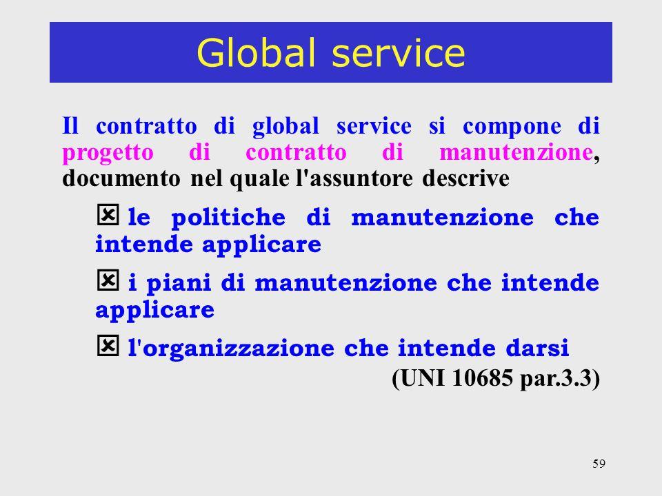 Global service Il contratto di global service si compone di progetto di contratto di manutenzione, documento nel quale l assuntore descrive.