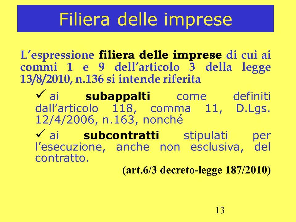 Filiera delle imprese L'espressione filiera delle imprese di cui ai commi 1 e 9 dell'articolo 3 della legge 13/8/2010, n.136 si intende riferita.