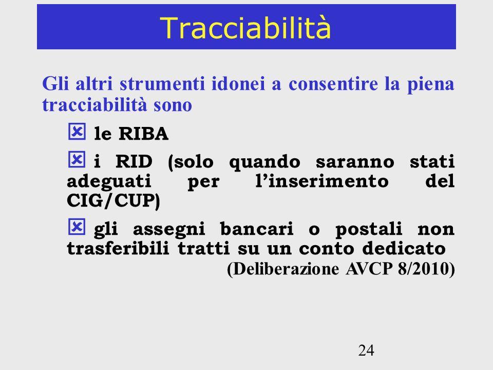 Tracciabilità Gli altri strumenti idonei a consentire la piena tracciabilità sono. le RIBA.