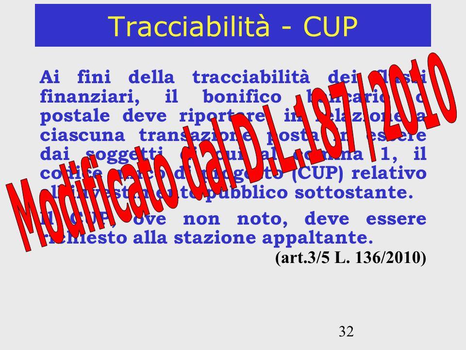 Tracciabilità - CUP Modificato dal D.L.187/2010