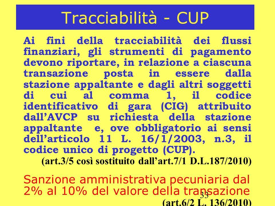 Tracciabilità - CUP