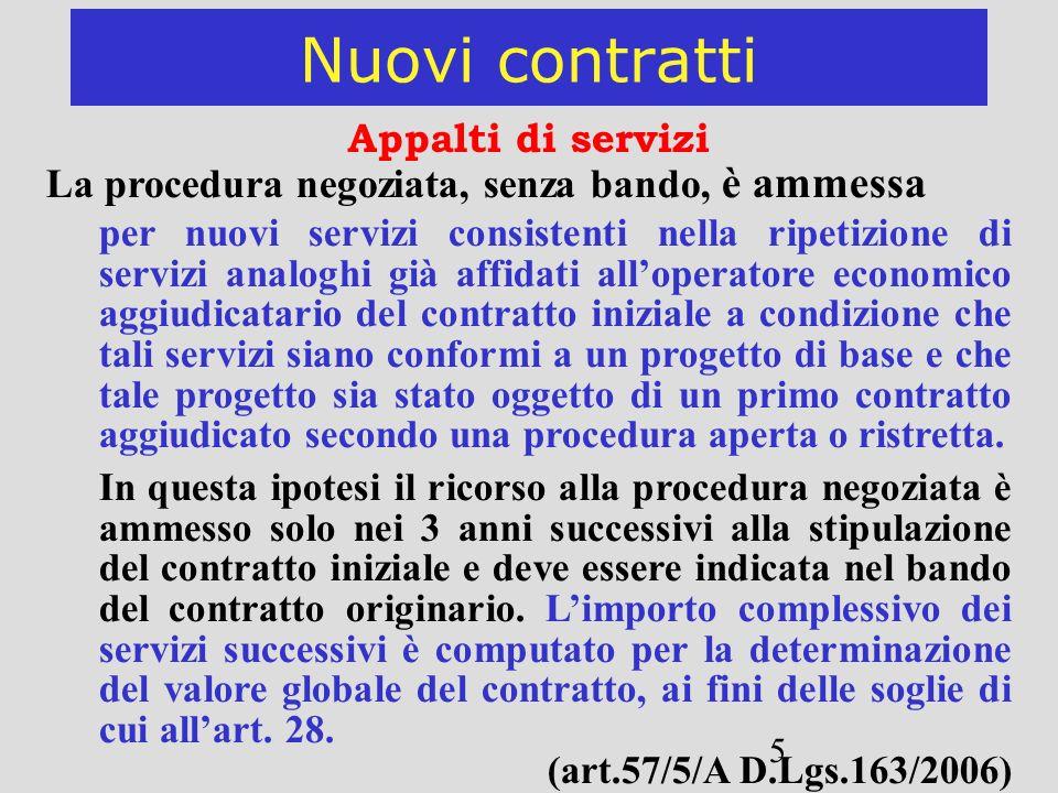 Nuovi contratti Appalti di servizi