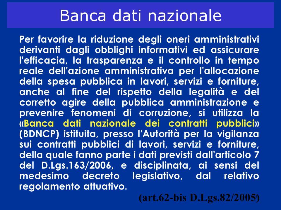 Banca dati nazionale (art.62-bis D.Lgs.82/2005)