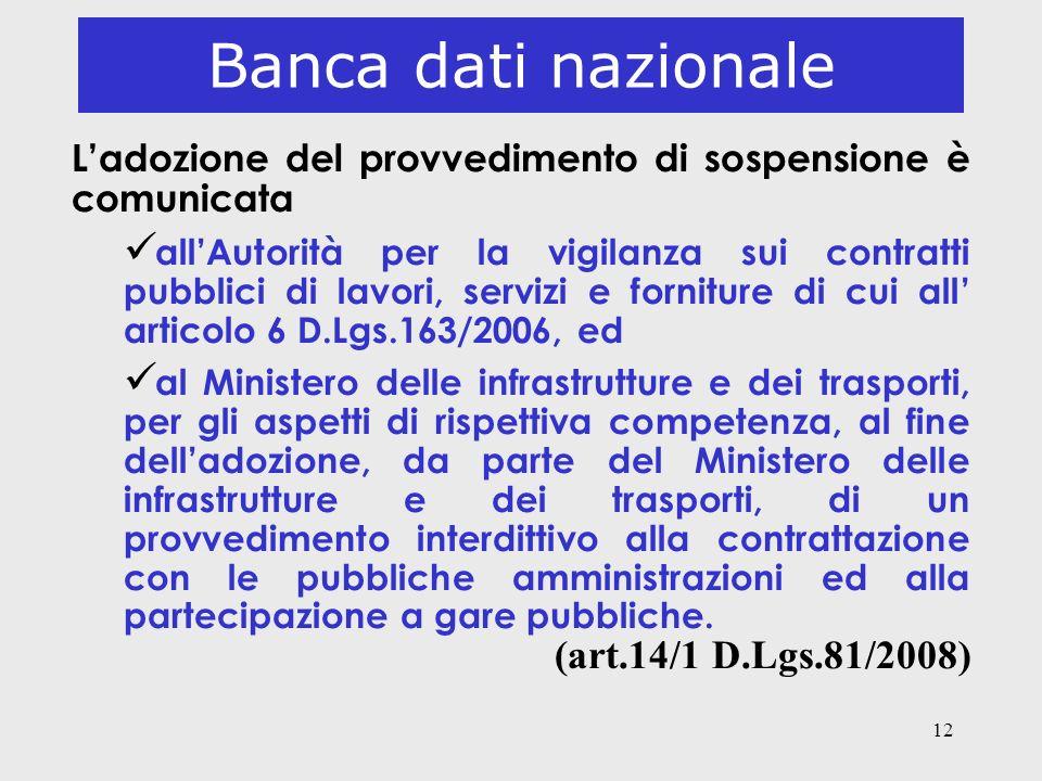 Banca dati nazionale (art.14/1 D.Lgs.81/2008)