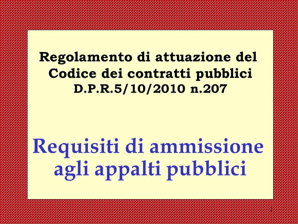 Requisiti di ammissione agli appalti pubblici