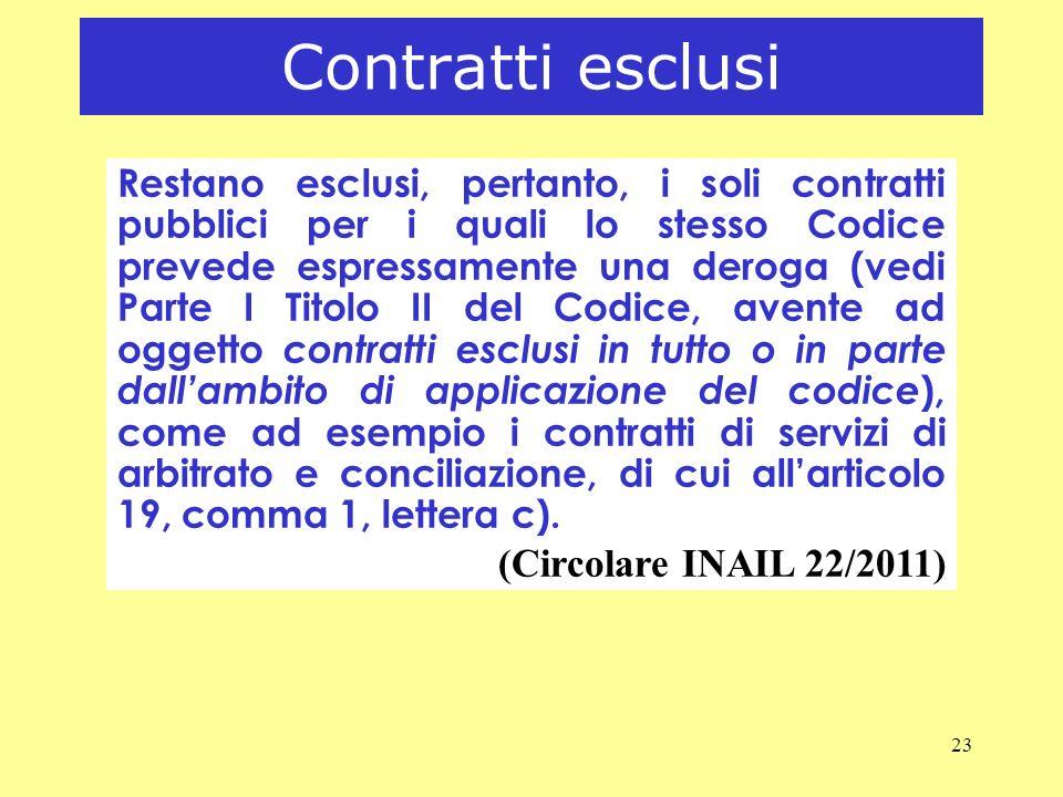 Contratti esclusi (Circolare INAIL 22/2011)