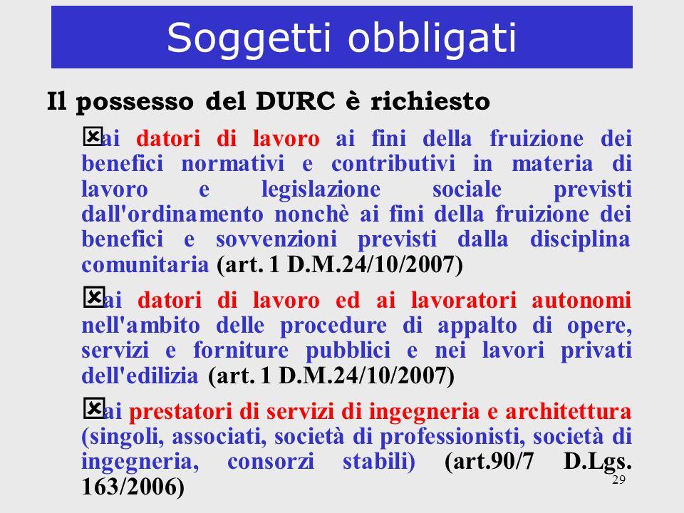 Soggetti obbligati Il possesso del DURC è richiesto