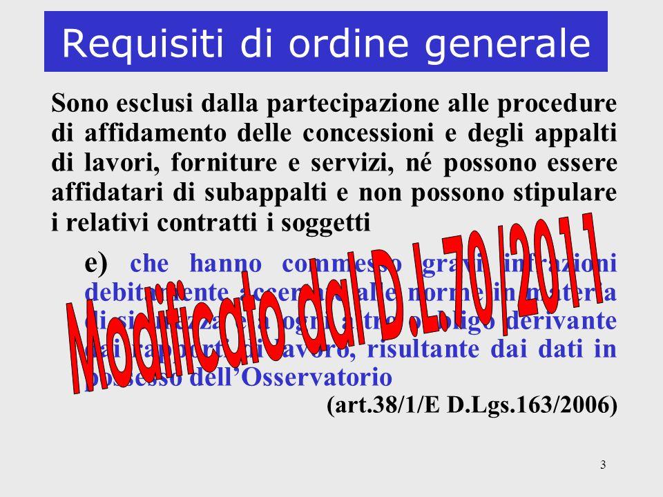 Requisiti di ordine generale