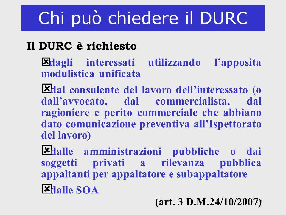Chi può chiedere il DURC