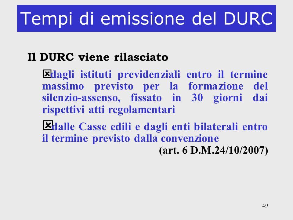Tempi di emissione del DURC