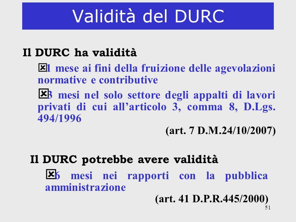 Validità del DURC Il DURC ha validità