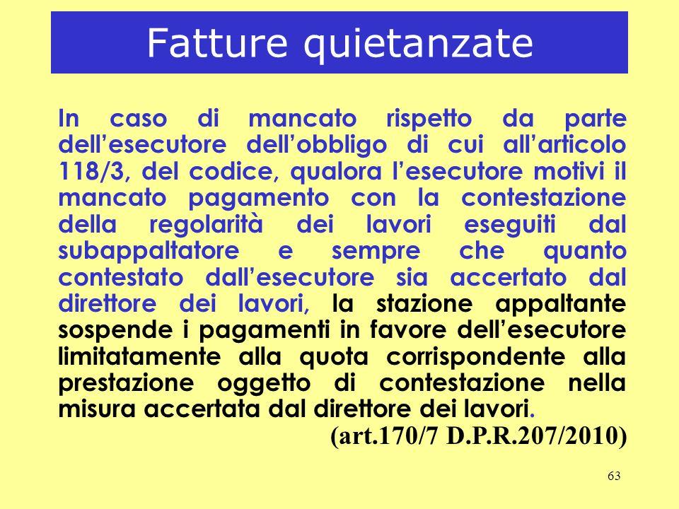 Fatture quietanzate (art.170/7 D.P.R.207/2010)
