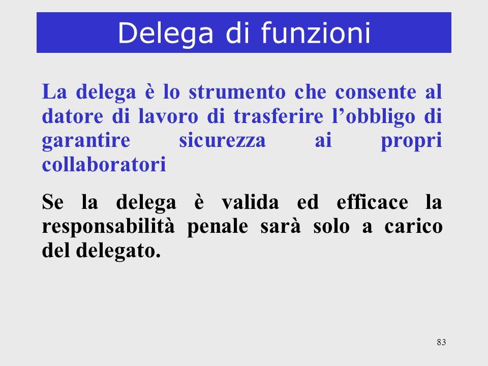 Delega di funzioni La delega è lo strumento che consente al datore di lavoro di trasferire l'obbligo di garantire sicurezza ai propri collaboratori.