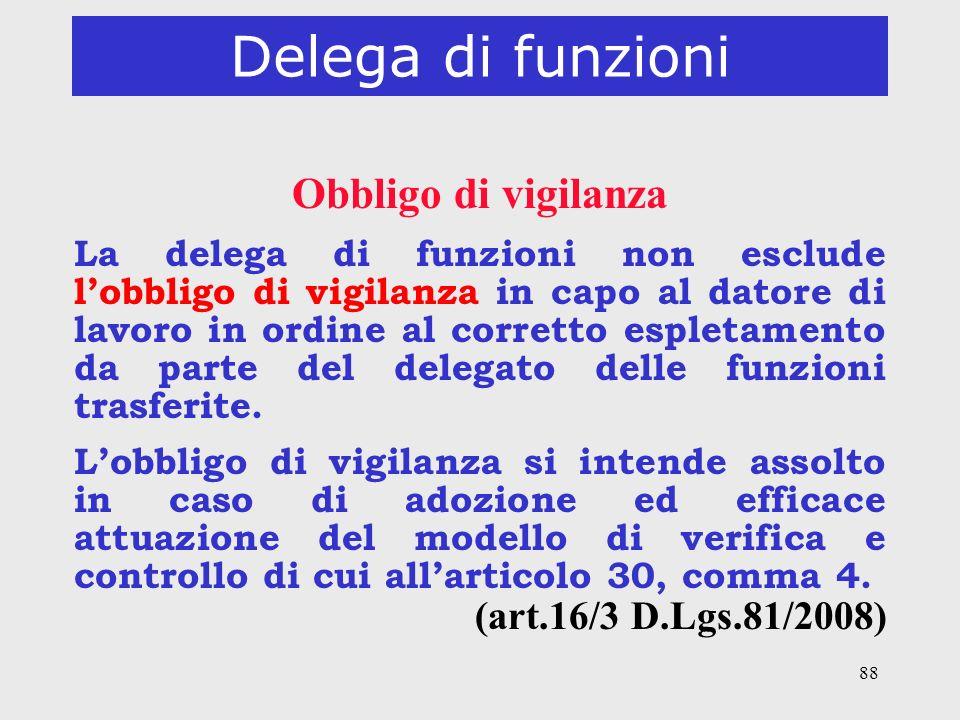 Delega di funzioni Obbligo di vigilanza (art.16/3 D.Lgs.81/2008)