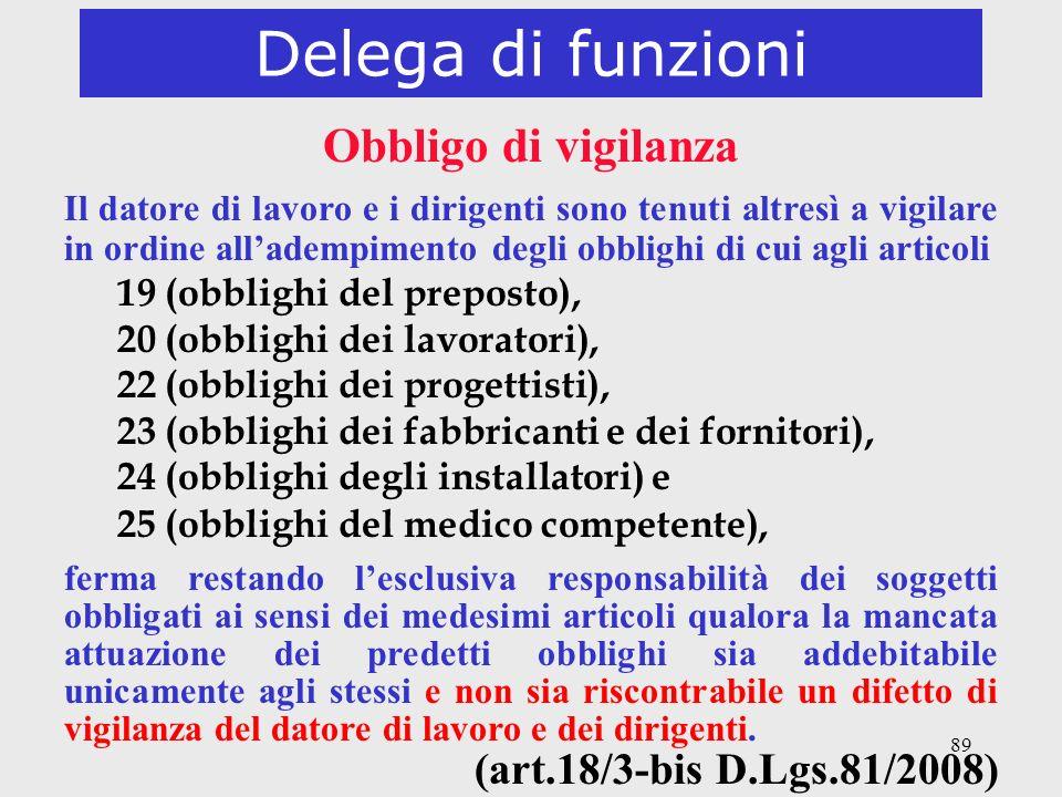 Delega di funzioni Obbligo di vigilanza (art.18/3-bis D.Lgs.81/2008)