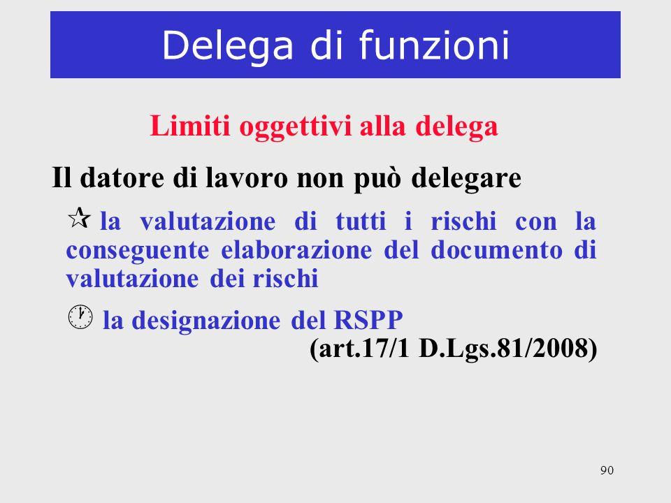 Limiti oggettivi alla delega