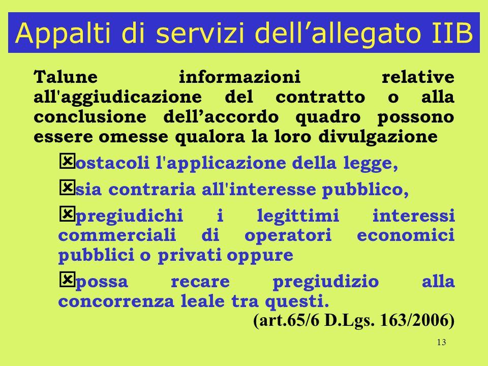 Appalti di servizi dell'allegato IIB
