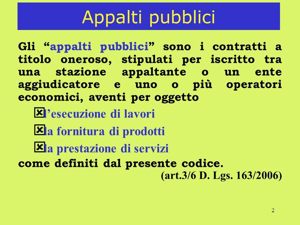 Appalti pubblici la fornitura di prodotti la prestazione di servizi