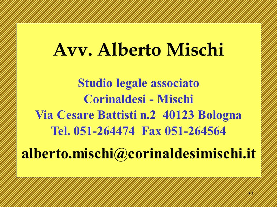 Studio legale associato Via Cesare Battisti n.2 40123 Bologna