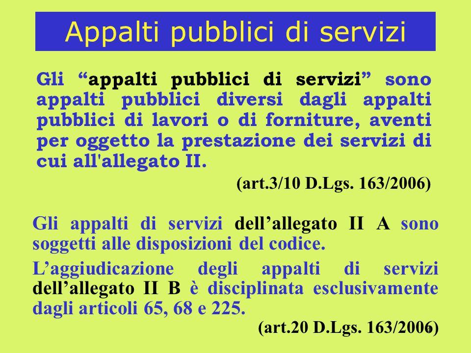 Appalti pubblici di servizi