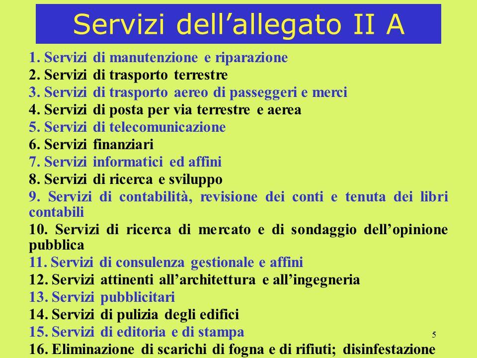 Servizi dell'allegato II A