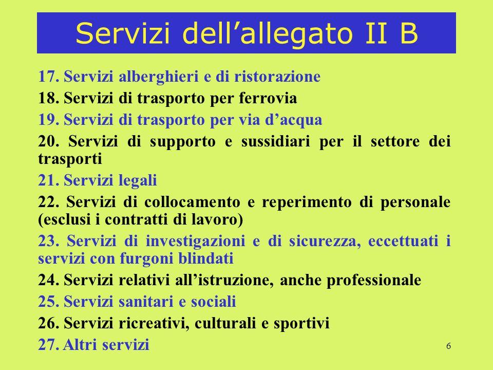 Servizi dell'allegato II B