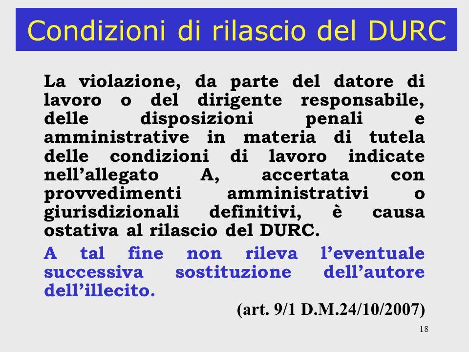 Condizioni di rilascio del DURC