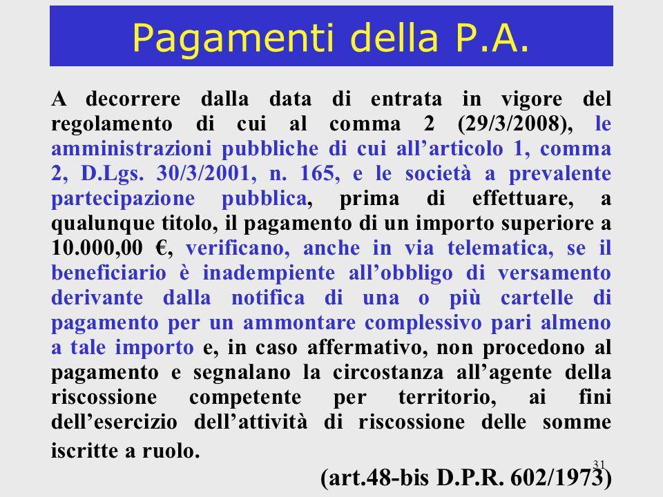Pagamenti della P.A. (art.48-bis D.P.R. 602/1973)