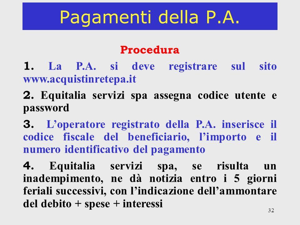 Pagamenti della P.A. Procedura. 1. La P.A. si deve registrare sul sito www.acquistinretepa.it.