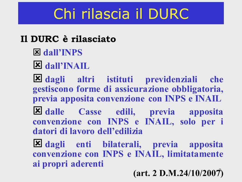 Chi rilascia il DURC Il DURC è rilasciato dall'INAIL